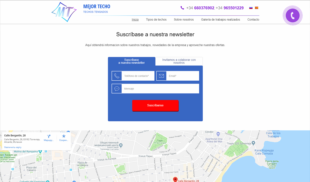 Landing Page for Mejor Techo