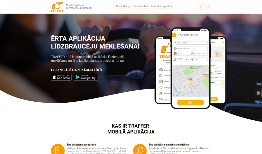 Landing Page for Traffer